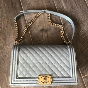 CHANEL Bags - Chanel Patent Leather New Medium Le Boy Bag GHW